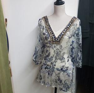 💥Monique Leshman Chiffon Floral Beaded Top